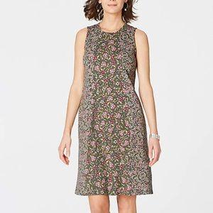 NWT J. Jill moss green floral sleeveless dress